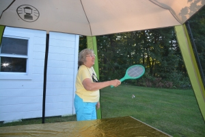 Aunt Sheila having fun with the bug-zapper racquet :)