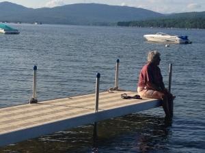 Aunt Mary Jane Enjoying the Peace of the lake